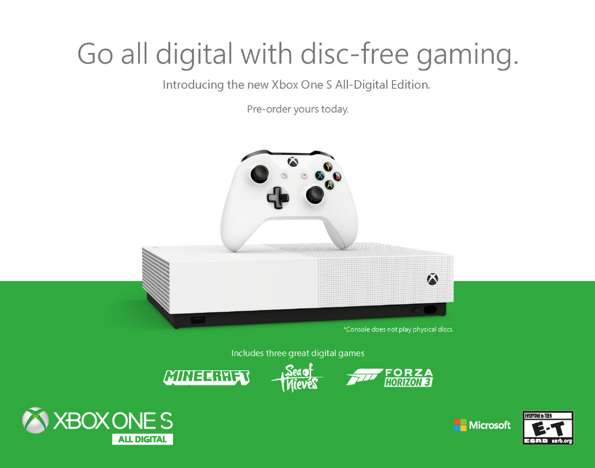 Arriva Xbox One S All-Digital Edition, in Italia a partire dal 7 maggio