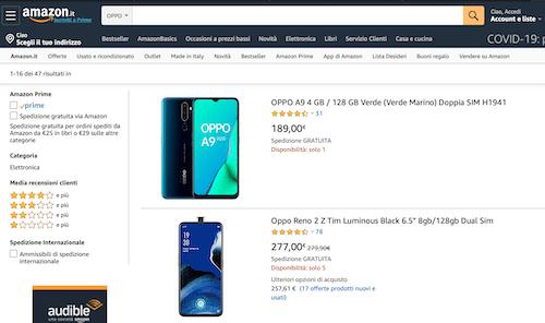 Oppo Italia ha aperto uno store online su Amazon.it